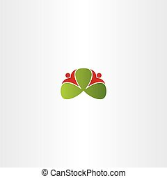healthy people around green leaves logo vector icon