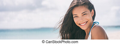 Healthy people Asian woman smiling banner
