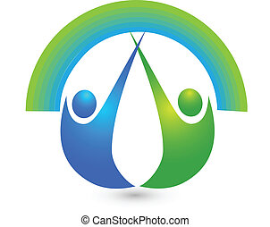 Healthy people logo - Healthy people with rainbow icon...