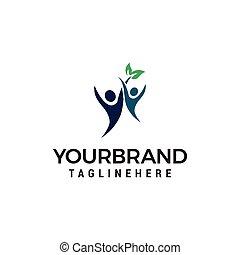healthy people logo, Human Leaf Logo Template