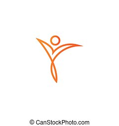 Healthy people outline logo icon design template vector