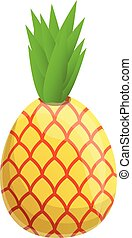 Healthy pineapple icon, cartoon style