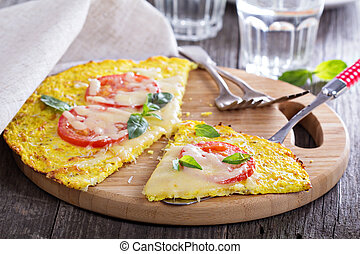 Healthy pizza on cauliflower crust - Healthy pizza with...
