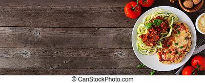 Healthy plant-based cauliflower parmesan and zucchini pasta...