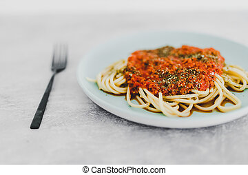 spaghetti pasta dish with vegetable protein bolognaise sauce