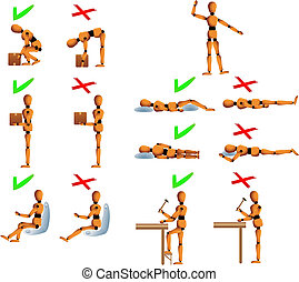Several position with do's and don't for the back and spine care. Woody the mannequin explains it using examples. It explains how to carry objects, drive, work and sleep in order to avoid back problems. Linear and radial gradients used. Woody's arms, legs and upperbody can be easily edited, modified...