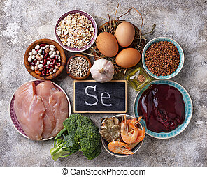 Healthy product sources of selenium. Food rich in Se