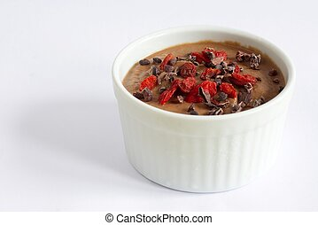 Healthy pudding made from the cauliflower, with cocoa nibs...