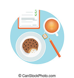 Healthy quick snack with cup of coffee, biscuit