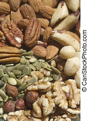 Healthy Raw Nuts and Seeds - A close up of healthy, raw,...