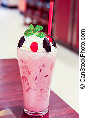 Healthy refreshment sweet and pink strawberry milkshake good for people and seriouse diet