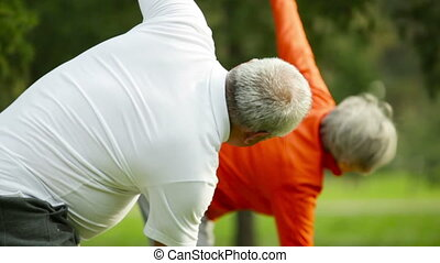 Healthy retirees doing a windmill arms exercise in an energetic pace