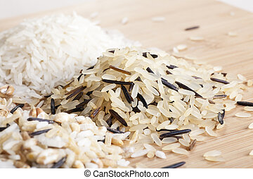 Healthy Rice - Close-up brown and wild grain rice with other...