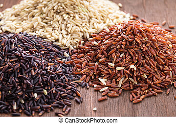 Healthy rice variety: brown, red and wild black