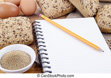 healthy rolls and a booklet for notes