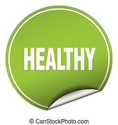 healthy round green sticker isolated on white