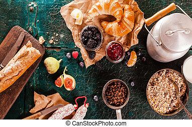 Healthy rustic breakfast with fresh fruit