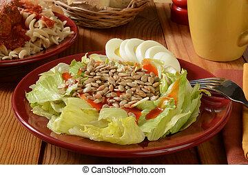 Healthy salad and pasta