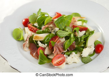 Healthy salad - Delicious salad with fresh greens, tomatoes...