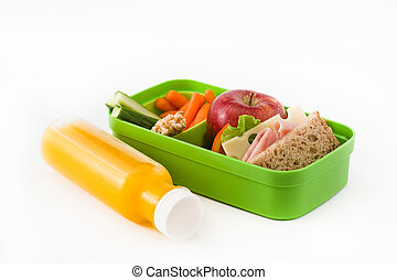 Healthy school lunch: Sandwich, vegetables ,fruit and juice isolated on white background