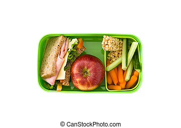 Healthy school lunch: Sandwich, vegetables ,fruit and juice isolated on white background. Top view