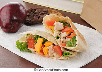 Healthy school lunch - a healthy school or sack lunch with a...