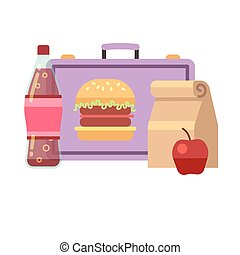 Healthy school lunch, student breakfast, box vector stock