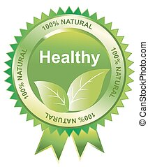 Healthy seal, illustration - Healthy seal of 100% natural,...