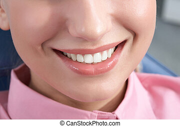 Healthy smile - Close-up of happy female smile and healthy...