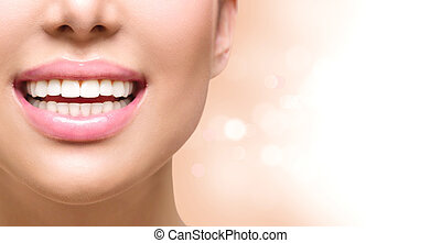 Healthy smile. Tooth whitening. Dental care concept