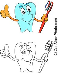 Healthy smiling tooth with toothpaste and toothbrush
