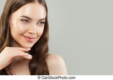 Healthy smiling woman spa model portrait. Beautiful face. Natural beauty
