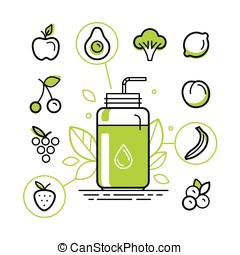 Healthy smoothie constructor infographics design elements