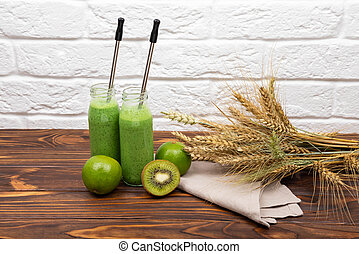 Healthy smoothie for breakfast. Raw green smoothie drink.