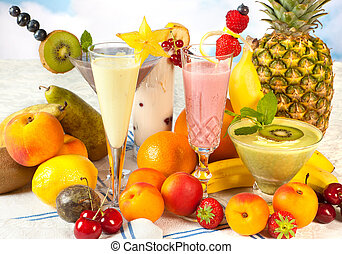 Healthy smoothies for a diet - Diet table filled with summer...