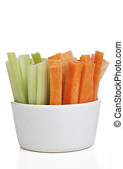 Healthy Snack - Bowl of carrot and celery sticks isolated on...