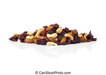 dried fruit - Healthy snack of dried fruits on white ...