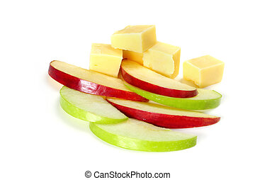 Slices of green and red apple with cubes of cheese. Healthy snacking, against white background.