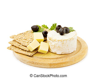 Healthy snacks - Brie and cheddar cheese with organic crackers. Isolted on white.