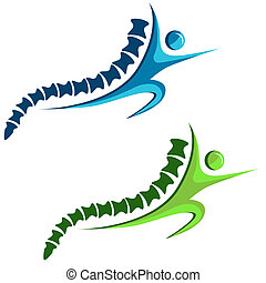 Healthy Spine Icon - An image of a set of healthy spine...