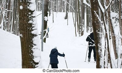 Healthy sport family - mother, father and child - skiers in winter snow forest