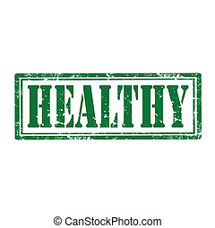 Grunge rubber stamp with word Healthy, vector illustration