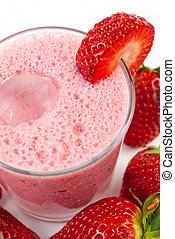strawberry smoothie - healthy strawberry smoothie isolated...