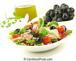 Healthy style low-fat breakfast with tuna salad - Delicious...
