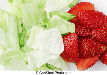 Healthy summer diet salad with strawberries and leaves ...