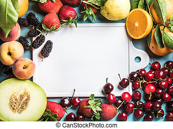 Healthy summer fruit background. Copy space