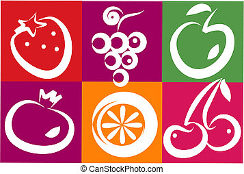 healthy summer fruits - healthy summer fruit icons and logos