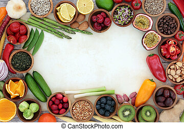Healthy Superfood Background Border - Healthy super food...