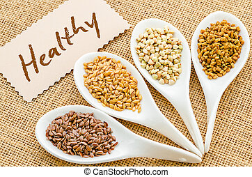Healthy tag with grains.