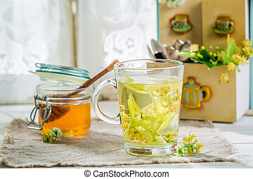 Healthy tea with honey for flu